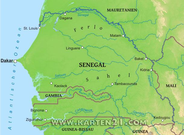 Karte Von Senegal Karten21 Com